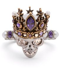 Alexander McQueen - Queen Crystal And Pearl Embellished Skull Ring - Lyst