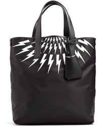 Neil Barrett - Thunderbolt Leather-trimmed Nylon Tote - Lyst