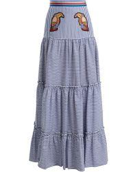 Stella Jean - Tiered Striped Maxi Skirt - Lyst