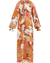 Dodo Bar Or Renee Floral Print Silk Midi Dress - Orange
