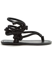 Saint Laurent - Nu Pieds Rope And Leather Sandals - Lyst