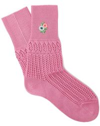 Gucci - Floral Embroidered Pointelle Knit Ankle Socks - Lyst