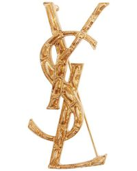 Saint Laurent - Ysl Crocodile Effect Brooch - Lyst
