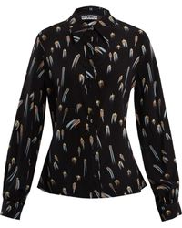 Rockins - Shooting Star Print Point Collar Silk Blouse - Lyst