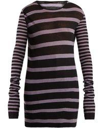 Haider Ackermann Round Neck Striped Cotton Blend Sweater