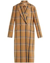 Stella McCartney - Double Breasted Check Wool Overcoat - Lyst