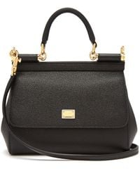 Dolce & Gabbana - Black Sicily Dauphine Leather Small Satche - Lyst