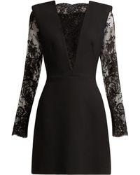 Alexander McQueen - Sarabande Lace And Wool Blend Mini Dress - Lyst