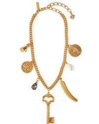 Oscar de la Renta - Pearl-embellished Gold-tone Charm Necklace - Lyst
