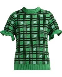 Shrimps Fio Checked Wool Blend Jumper - Green