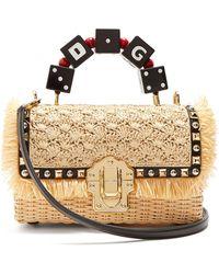 Dolce & Gabbana - Sac panier en osier clouté Lucia - Lyst