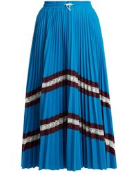 Valentino - High Rise Chevron Striped Pleated Jersey Skirt - Lyst