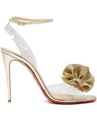 f0af8d906e6 Lyst - Christian Louboutin Fossiliza Pvc   Specchio Leather Sandals ...