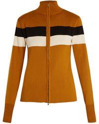Wales Bonner - Emory Striped-detail Zip-front Silk-blend Jumper - Lyst