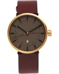 Bravur | Bw002 Stainless-steel And Grained-leather Watch | Lyst