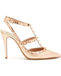 Valentino - Rockstud Metallic-leather Court Shoes - Lyst