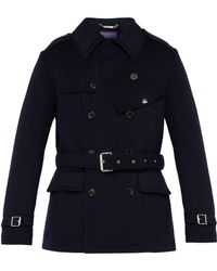 Ralph Lauren Purple Label - Double Breasted Melton Wool Trench Coat - Lyst