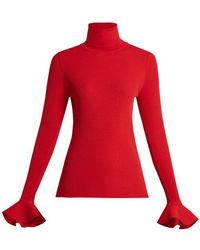 Valentino - - Ribbed Knit Roll Neck Jumper - Womens - Red - Lyst