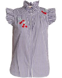 Bliss and Mischief - Cherry Embroidered Gingham Cotton Shirt - Lyst