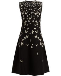 Bottega Veneta - High-neck Sleeveless A-line Dress With Butterfly Jacquard - Lyst