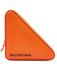 Balenciaga - Triangle Pochette M Leather Clutch - Lyst