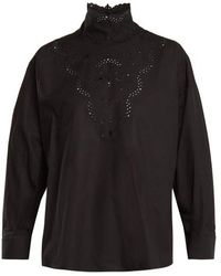 Fendi - High-neck Broderie-anglaise Cotton Blouse - Lyst