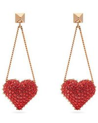 Valentino - Heart Rockstud And Crystal Drop Earrings - Lyst