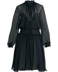 Chloé - Smocked Silk-crepon Dress - Lyst