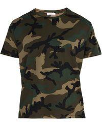 Valentino Studded Camouflage Print Cotton T Shirt