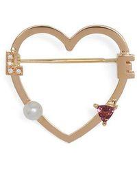Delfina Delettrez - Diamond, Rhodolite, Pearl & Pink Gold Brooch - Lyst