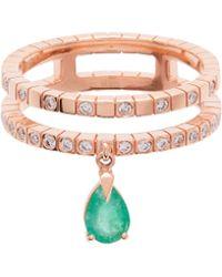 Diane Kordas - Spectrum 18kt Rose Gold Diamond & Emerald Ring - Lyst