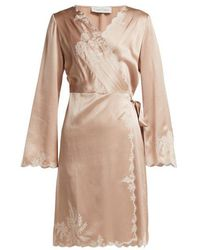 Carine Gilson - - Lace Trimmed Silk Satin Robe - Womens - Light Pink - Lyst
