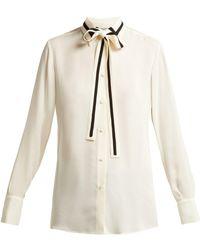 Valentino - Striped Silk Georgette Blouse - Lyst