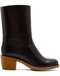 A.P.C. - Paz Block-heel Leather Boots - Lyst
