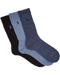 Polo Ralph Lauren - Pack Of Three Logo Embroidered Socks - Lyst