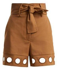 Sara Battaglia - Cut-out Detail Cotton-blend Shorts - Lyst