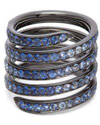 Lynn Ban - - Ombré Sapphire & Rhodium Silver Coil Ring - Womens - Blue - Lyst