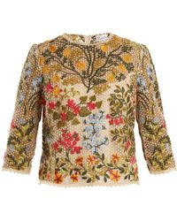 RED Valentino - Floral-embroidered Round-neck Top - Lyst