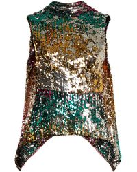 Halpern - Sequin-embellished High-neck Sleeveless Top - Lyst