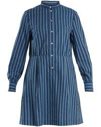 A.P.C. - Lili Striped Cotton-twill Shirtdress - Lyst