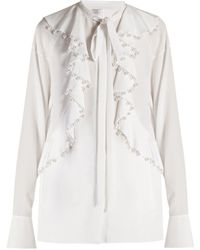 Givenchy - Faux Pearl Embellished Ruffled Blouse - Lyst
