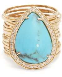 Jacquie Aiche - Diamond, Turquoise & Yellow Gold Ring - Lyst