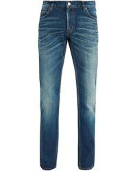 Balenciaga Jean slim délavé - Bleu