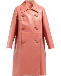 392988ebc42 Miu Miu - Double Breasted Leather Coat - Lyst