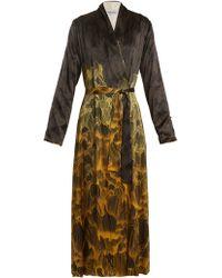 Adriana Iglesias - Waldorf Reversible Floral-print Stretch-silk Robe - Lyst