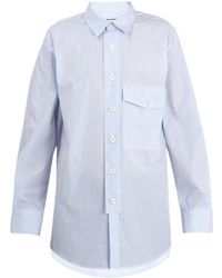 Wooyoungmi | Patch-pocket Oversized Striped Cotton Shirt | Lyst