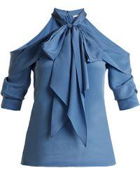 Erdem - Elin Cut-out Shoulder Silk Blouse - Lyst