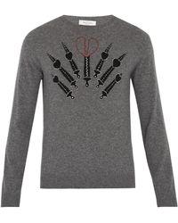 Valentino | Love Blade-intarsia Cashmere-blend Sweater | Lyst