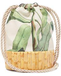 Glorinha Paranagua - Saigon Leaf Print Canvas And Bamboo Bucket Bag - Lyst