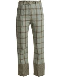 Cecilie Copenhagen   Checked Cotton And Linen-blend Trousers   Lyst